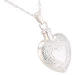 Etched Double Heart Cremation Jewelry