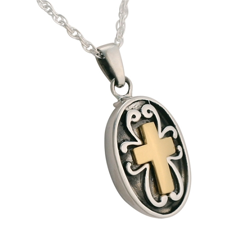 oval cross cremation jewelry remembrance necklaces. Black Bedroom Furniture Sets. Home Design Ideas