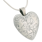 Floral White Bronze Heart Cremation Jewelry
