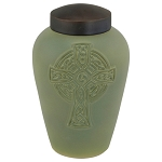 Celtic Cross Raku Urn