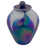 Lumos Blue Hand Blown Glass Urn
