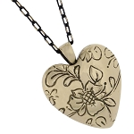 Floral Bronze Heart Cremation Jewelry