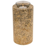 Beige Marble Tealight Urn - 6.5 Inches High