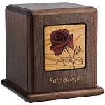 Red Rose Wood Cremation Urn