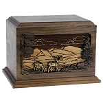 In the Woods Inlay Wood Cremation Urn