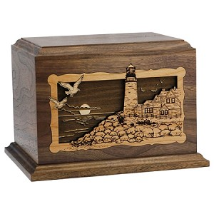 Lighthouse Inlay Wood Cremation Urn
