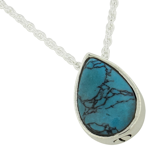 Turquoise Teardrop Slider Cremation Jewelry Remembrance