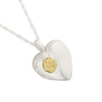Heart with Gold Rose Cremation Jewelry Locket