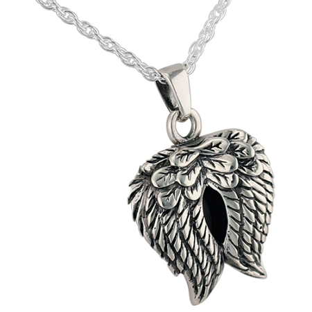 angel wings silver heart cremation jewelry. Black Bedroom Furniture Sets. Home Design Ideas