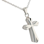 Silver Bevel Cross Cremation Jewelry