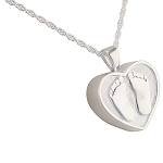 Heart with Baby Feet Cremation Jewelry