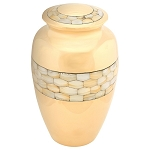 Mother of Pearl Brass Urn - Polished Gold