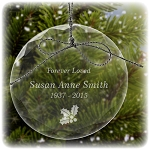 Holly Berry Memorial Ornament - Free Engraving