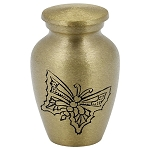 Gold Engraved Butterfly Brass Keepsake Urn