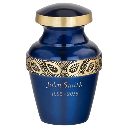 Sapphire Blue Keepsake Urn Unique Small Decorative Urns