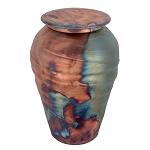 Blue Copper Fire Raku Ceramic Urn