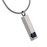 Pillar with Purple Gemstone Cremation Jewelry