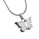 Embossed Butterfly Cremation Jewelry