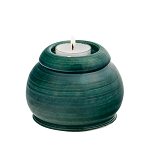 Evergreen Ceramic Memorial Candle Urn - Round