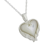 Pearl Heart with Angel Wings Cremation Jewelry