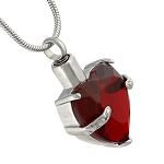 Red Heart Gemstone Cremation Jewelry