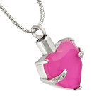 Persian Pink Heart Gemstone Cremation Jewelry