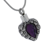 Amethyst Angel Heart Cremation Jewelry Pendant