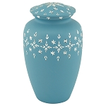 Diamond Cut Blue Aluminum Urn