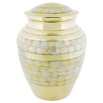 Mother of Pearl Double Band Brass Urn