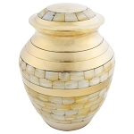 Mother of Pearl Double Band Brass Urn - Medium