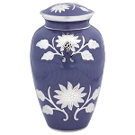 Grace Lavender Blue Brass Urn