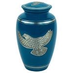 Silver Eagle Brass Urn - Blue