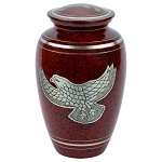 Silver Eagle Brass Urn - Red