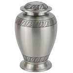 Pewter Leaves Brass Urn
