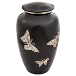 Pewter Engraved Butterfly Brass Urn