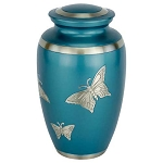 Blue Engraved Butterfly Brass Urn