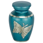 Blue Engraved Butterfly Keepsake Urn