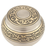 Pewter Engraved Round Extra Small Urn