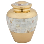 Mother of Pearl Wide Band Brass Urn