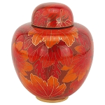 Fall Leaf Cloisonne Urn