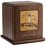 Lighthouse Scene Wood Cremation Urn