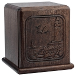 Lighthouse Carved Wood Cremation Urn