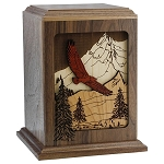Soaring Eagle Inlay Wood Cremation Urn