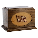 American Flag Wood Cremation Urn