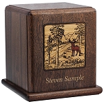 In the Woods Scene Wood Cremation Urn