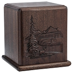 In the Woods Carved Wood Cremation Urn