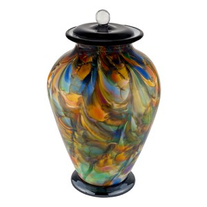 Interlude Hand Blown Glass Urn