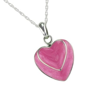 Two Hearts Pink Cremation Jewelry
