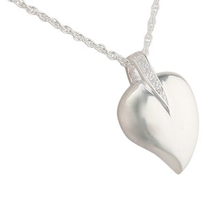 Heart with Leaf Cremation Jewelry