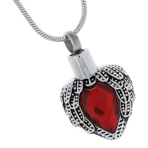 Ruby Angel Heart Cremation Jewelry